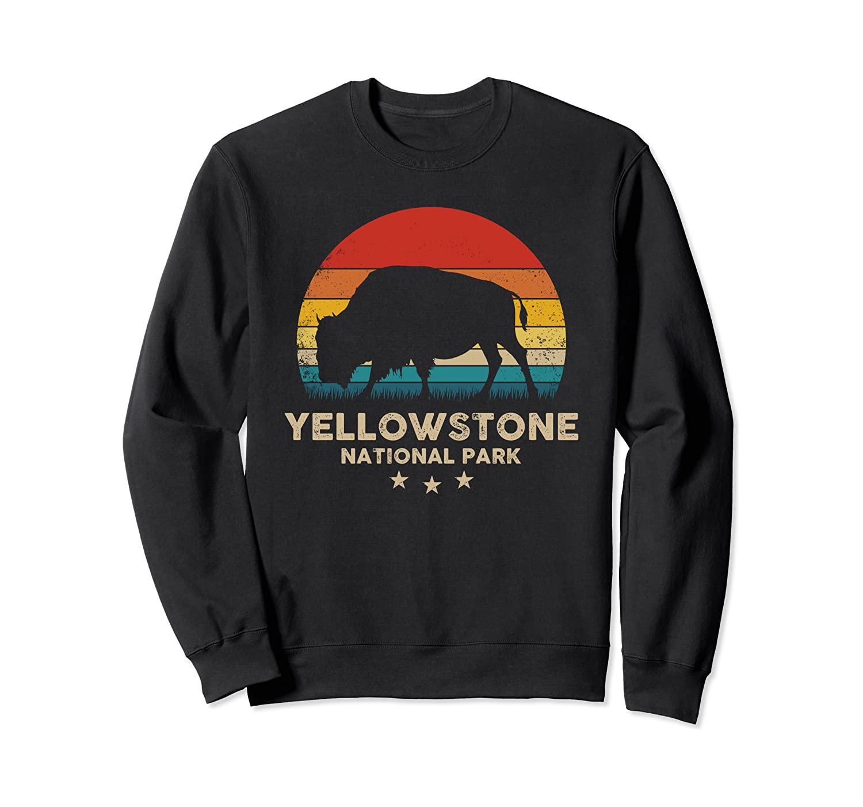 Buffalo Yellowstone National Park Retro Bison Silhouette Sweatshirt